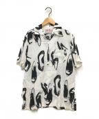 Aloha Blossom(アロハブロッサム)の古着「ヒールプリントアロハシャツ」 ホワイト