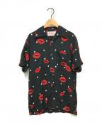 Aloha Blossom(アロハブロッサム)の古着「キスプリントアロハシャツ」 ブラック