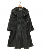 HIROKO KOSHINO(ヒロコ コシノ)の古着「ナイロンギャザーコート」|ブラック