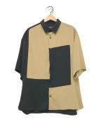 HARE(ハレ)の古着「S/Sブロックカラーシャツ」 ブラウン×ブラック