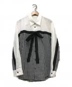 MILK BOY(ミルクボーイ)の古着「WRAP RIBBONシャツ」 ブラック×ホワイト