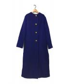 ()の古着「ノーカラーコート」 ブルー