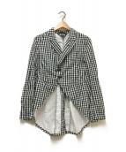 ()の古着「燕尾ギンガムチェックジャケット」 ブラック