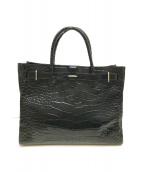 ()の古着「クロコ型押しハンドバッグ」|ブラック