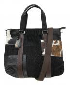 ETRO(エトロ)の古着「パッチワークハラコ切替トートバッグ」|ブラック