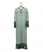 Mame Kurogouchi(マメ クロゴウチ)の古着「Rib Jacquard Pedicel Knit Dres」 グリーン