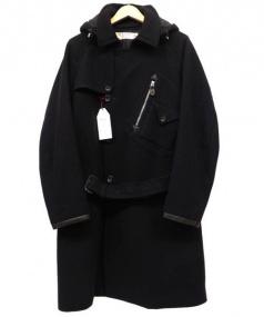SUN/kakke(サンカッケー)の古着「LEAF WOOLメルトンコート」|ネイビー
