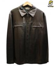 HERMES(エルメス)の古着「ラムスキンシングルレザージャケット」|ブラック