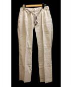 RAINMAKER(レインメーカー)の古着「ツータックシルクリネンパンツ」|グレー×ホワイト