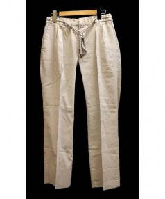 RAINMAKER(レインメーカー)の古着「ツータックシルクリネンパンツ」 グレー×ホワイト