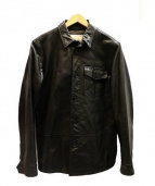 BANANA REPUBLIC(バナナリパブリック)の古着「レザーシャツジャケット」 ブラック