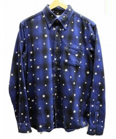 UNIFORM EXPERIMENT(ユニフォームエクスペリメント)の古着「STAR PRINT OMBRE CHECK B.D SHI」 ブルー