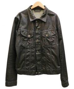 NUDIE JEANS(ヌーディージーンズ)の古着「コーティングデニムジャケット」 ブラック