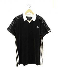 adidas(アディダス)の古着「ベロアポロシャツ」 ブラック×ホワイト