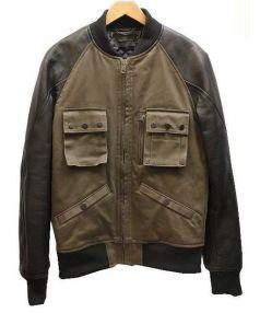 DIESEL BLACK GOLD(ディーゼルブラックゴールド)の古着「レザースリーブスタジャン」|オリーブ×ブラック