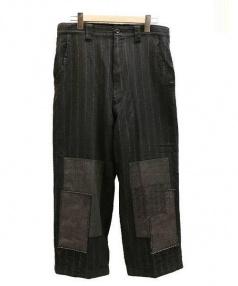 JUNYA WATANABE MAN(ジュンヤワタナベマン)の古着「リペア加工ストライプパンツ」|ブラック