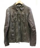 GIORGIO BRATO(ジョルジオ・ブラット)の古着「textured shirt レザー切替ジャケット」|ブラック