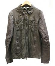 GIORGIO BRATO(ジョルジオ・ブラット)の古着「textured shirt レザー切替ジャケット」 ブラック