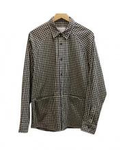 Adam et Rope(アダムエロペ)の古着「ギンガムチェックシャツジャケット」|ブラック×ホワイト