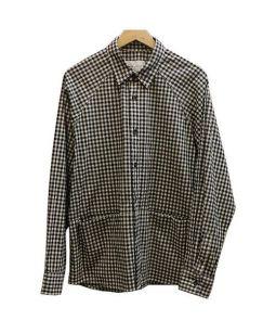 Adam et Rope(アダムエロペ)の古着「ギンガムチェックシャツジャケット」 ブラック×ホワイト