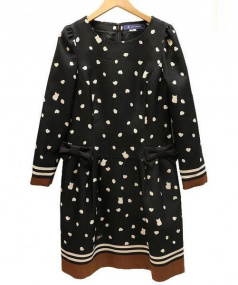 MS GRACY(エムズグレィシー)の古着「猫ドットワンピ」|ブラック