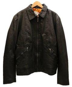 NUDIE JEANS(ヌーディージーンズ)の古着「JONNYレザージャケット」|ブラック
