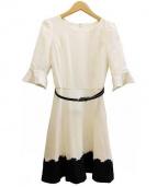 LAISSE PASSE(レッセ・パッセ)の古着「バイカラーフレアーワンピース」|ホワイト