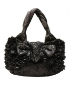 TO BE CHIC(トゥビーシック)の古着「リボンスパンコールハンドバッグ」|ブラック