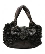 TO BE CHIC(トゥビーシック)の古着「リボンスパンコールハンドバッグ」 ブラック