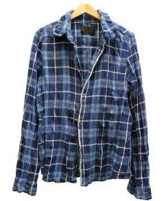 junhashimoto(ジュンハシモト)の古着「シワ加工チェックフックシャツ」 ブルー