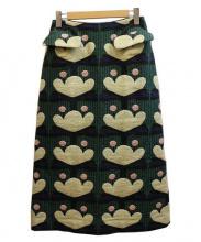 peu pres(プープレ)の古着「フラワーテキスタイルロングスカート」|グリーン