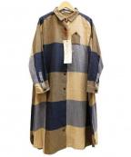 latelier du savon(アトリエドゥサボン)の古着「ブロックチェックシャツワンピース」|ネイビー