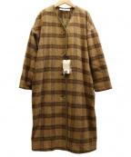 bulle de savon(ビュル デ サボン)の古着「パイピングノーカラーコート」|ブラウン