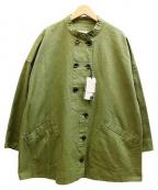 bulle de savon(ビュル デ サボン)の古着「ノーカラーミリタリーコート」|オリーブ