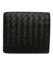 BOTTEGA VENETA(ボッテガヴェネタ)の古着「コインケース付イントレチャート財布」|ブラック