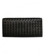 BOTTEGA VENETA(ボッテガヴェネタ)の古着「イントレチャート長財布」|ブラック