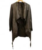 issac sellam(アイザックセラム)の古着「レザーカーディガン」|ブラウン