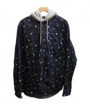 uniform experiment(ユニフォームエクスペリメント)の古着「STAR DENIM HOOD SHIRT パーカーシャツ」|ネイビー