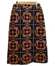 peu pres(プープレ)の古着「テキスタイルスカート」|ネイビー