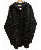 FAITH CONNEXION(フェイスコネクション)の古着「Tweed Hooded Overshirt オーバーシャツ」|ネイビー