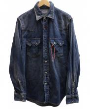 BLUE BLUE(ブルーブルー)の古着「ターコイズボタン付デニムウエスタンシャツ」