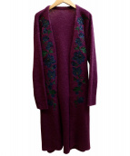 GRACE CONTINENTAL(グレースコンチネンタル)の古着「刺繍ニットカーディガン」|パープル