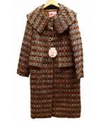 peu pres(プープレ)の古着「ミックスツイードコート」|ブラウン×ピンク