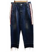JohnUNDERCOVER(ジョンアンダーカバー)の古着「側章テープタックパンツ デニム」|スカイブルー