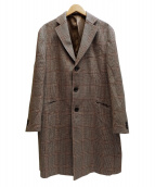 DURBAN(ダーバン)の古着「アルパカ混チェックコート」|ブラウン