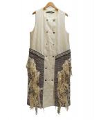 muller of yoshiokubo(ミュラーオブヨシオクボ)の古着「フリンジビジューデザインワンピ」|ホワイト