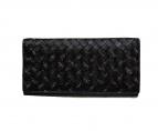 BOTTEGA VENETA(ボッテガヴェネタ)の古着「イントレチャートマイクロドッツ長財布」|ブラック