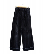 FILL THE BILL(フィルザビル)の古着「SUSPENDERS DENIM WIDE PANTS」|ブラック