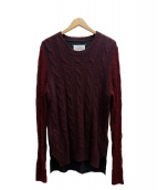 Martin Margiela14(マルタンマルジェラ14)の古着「Block Color Cable Knit Sweater」|ボルドー×グリーン