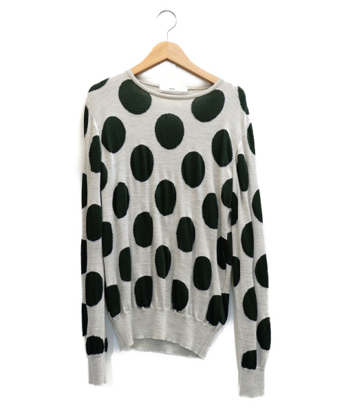 TOGA PULLA(トーガプルラ)TOGA PULLA (トーガ プルラ) ニット グレー×グリーン サイズ:表記サイズ:38の古着・服飾アイテム